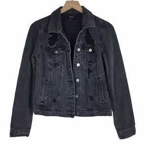 FOREVER 21 Jean Jacket Distressed Oversized Small